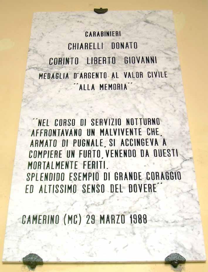 Lapide commemorativa Carabinieri
