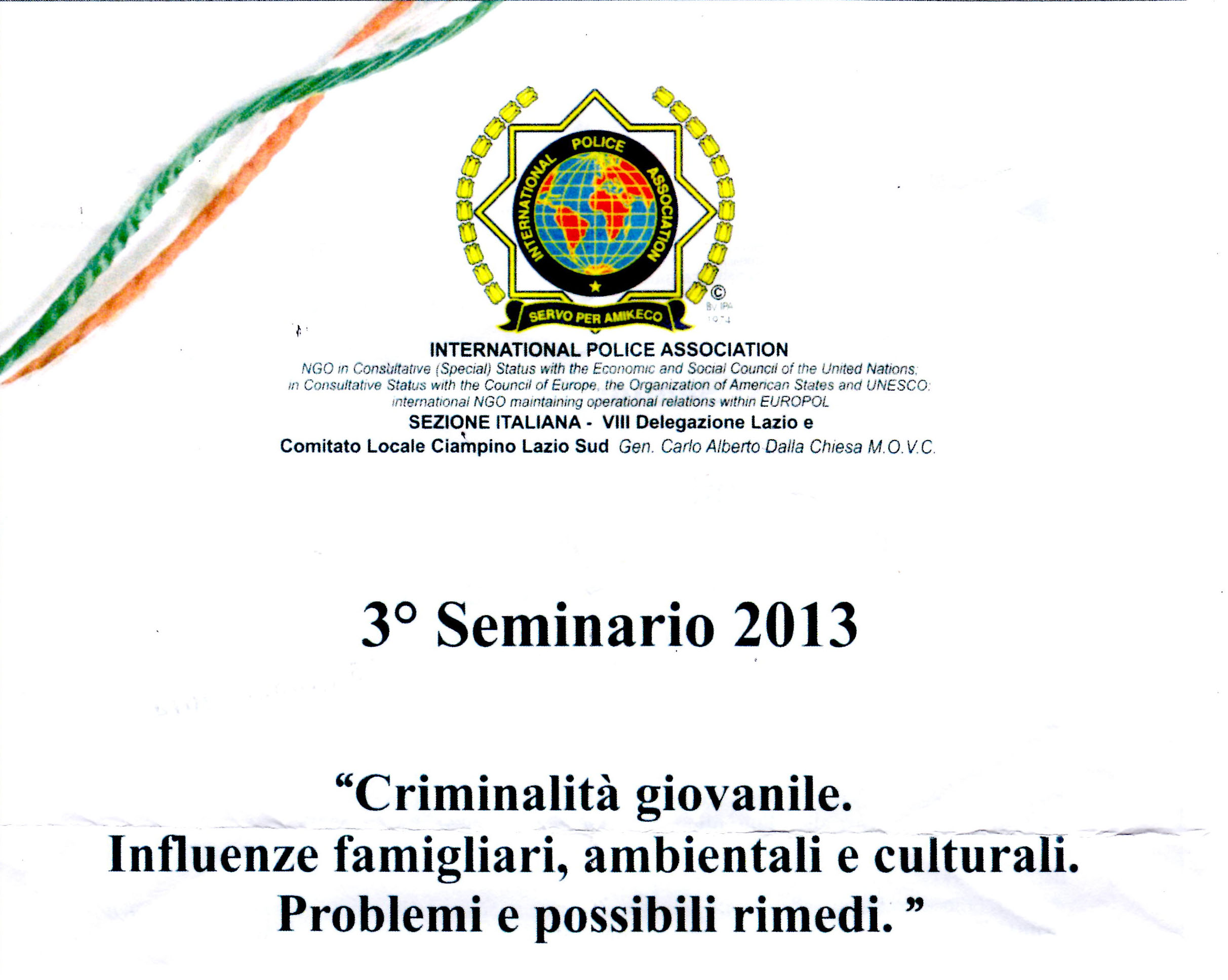 "Photo of Concluso a Roma il 3° seminario International Police Association sulla ""Criminalità Giovanile"""