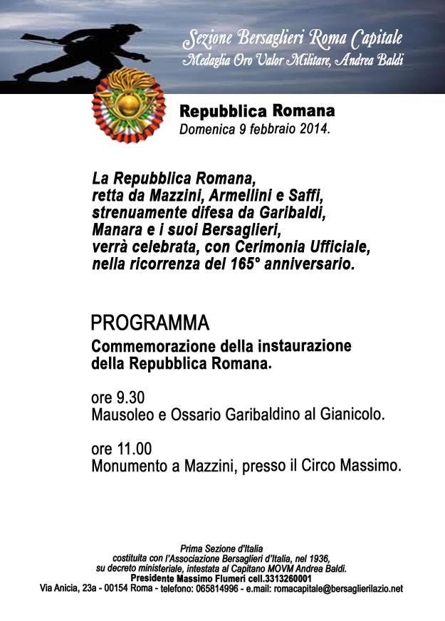 Photo of Domani la commemorazione del 165° dalla proclamazione della  Repubblica Romana