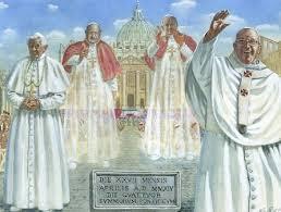 Photo of San Pietro gremita  per i Santi  Papa Giovanni XXIII  e Papa Giovanni Paolo II. Applausi per Benedetto XVI