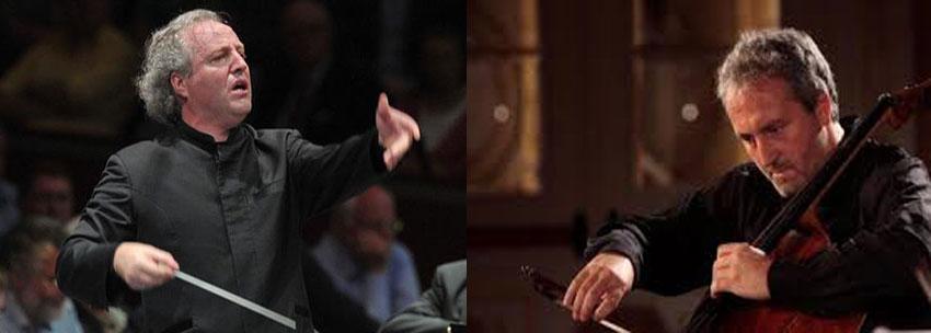 Photo of Manfred Honeck e Mario Brunello sul palcoscenico di  Santa Cecilia