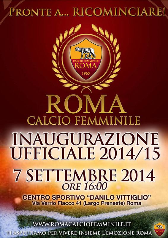 Photo of Roma Calcio Femminile: domenica 7 settembre inaugurazione stagione 2014-15