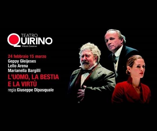 """Photo of Teatro Quirino – """"L'Uomo, la Bestia e la Virtù"""" con Marianella Bargilli, Geppy Gleijeses e Lello Arena"""