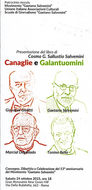 "Photo of 53° anniversario del 'Movimento Salvemini'. Libro ""Canaglie e Galantuomini"""