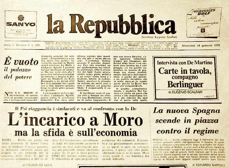 """Photo of Nel primo numero del 1976 di """"La Repubblica"""": 'La storia  dell'Antimafia'"""