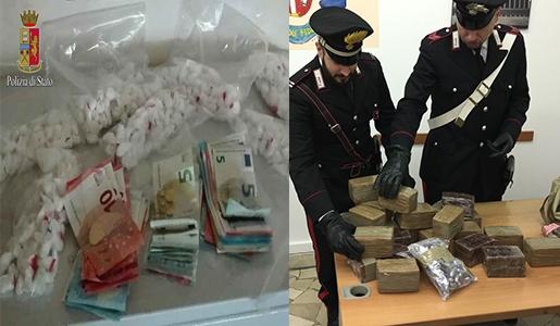 """Photo of Lotta allo spaccio. Negli ultimi giorni 41 persone arrestate. Scoperti due depositi con 30 chili di hashish marchiati """"Roma"""" e alcuni chili di cocaina. Sede di spaccio anche in un circolo culturale. VIDEO"""