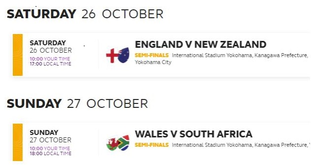 Rugby - semifinali RWC2019
