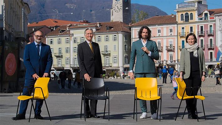 Locarno - da sx Giona A. Nazzaro, Marco Solari, Raphaël Brunschwig, Simona Gamba